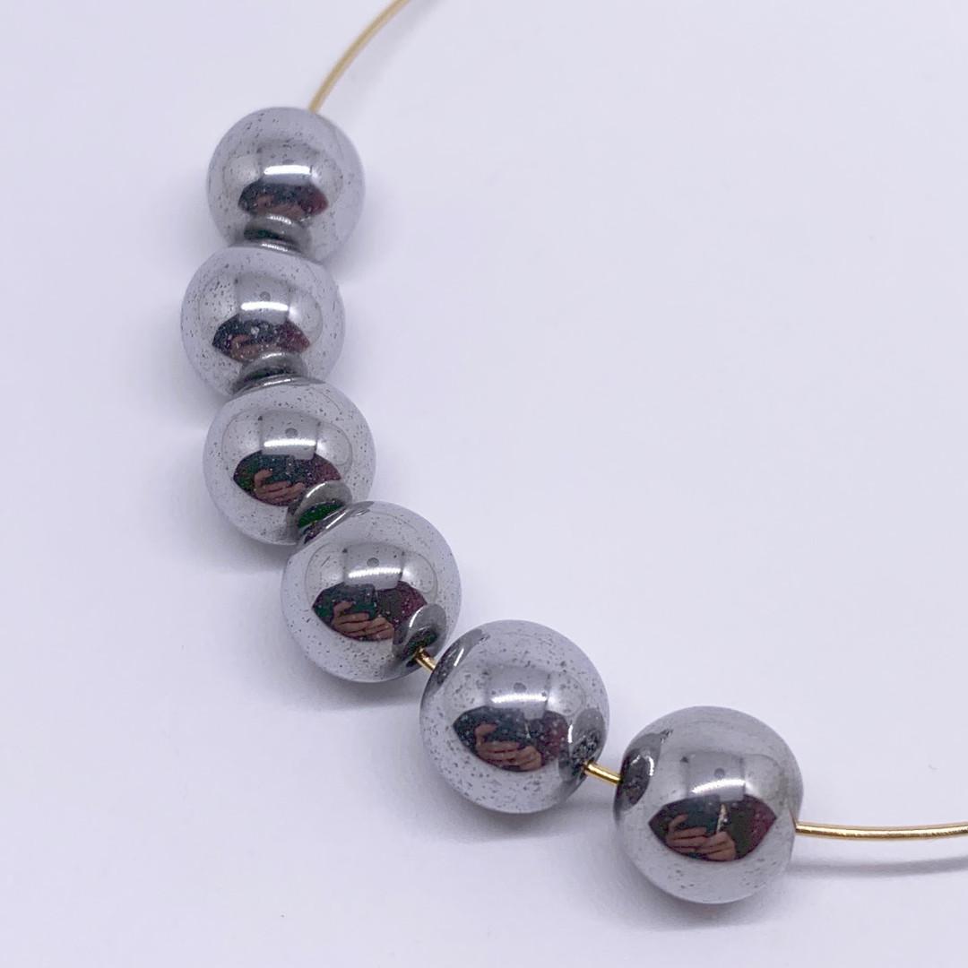 Round Silver Titanium Hematite