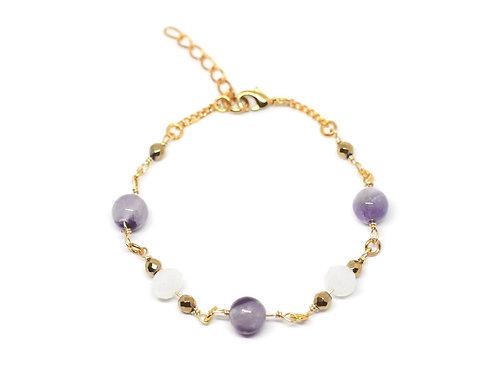 Amethyst & White Glass Bracelet