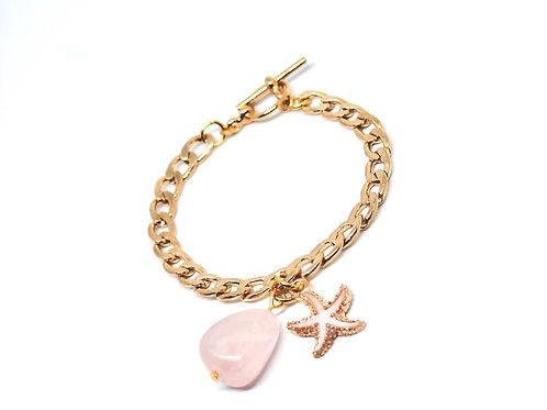 Rose Quartz Curb Chain Bracelet