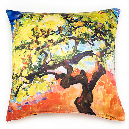 silky satin finished colorful pillow cushion with painting of a lemon tree in orange and chartreuse