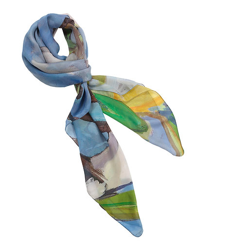 tied chiffon silk scarf made in italy named momentum silk scarf named with painted tree image laid flat