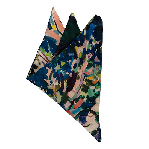 hand stitched italian pocket square on fine silk twill folded into points