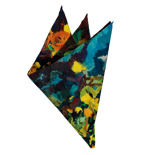 fine italian pocket square on silk twill folded into points to show the color variations