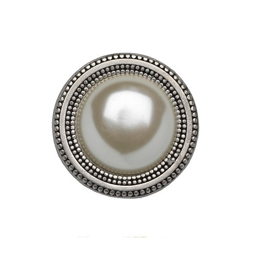 round silver colored magnetic scarf pin decorated with a beautiful pearl