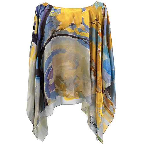 front of silk poncho made in italy named jubilant