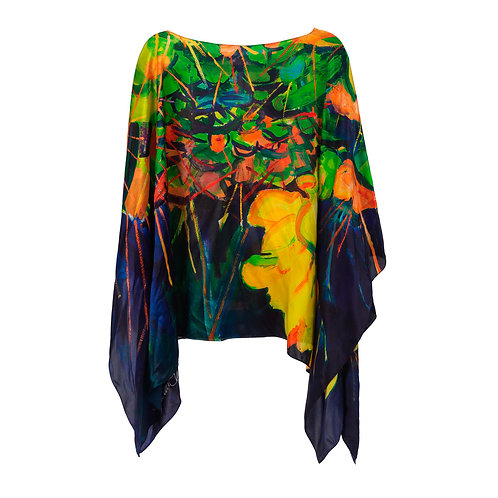 front of silk poncho made in italy named scintillating hanging