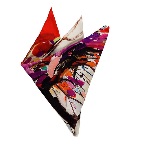 red, purple, black and white striations displayed on this folded silk pocket square