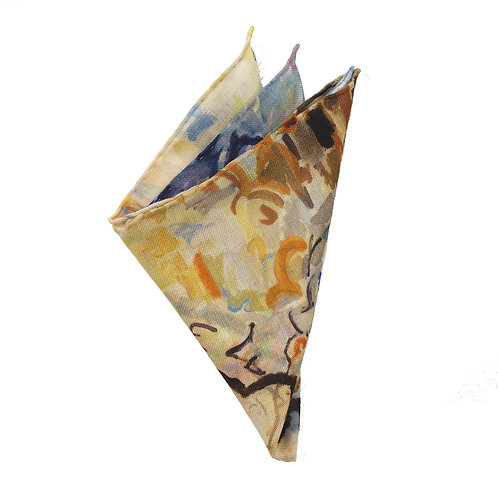 hand stitched wool pocket square with neutral color palette made in Italy