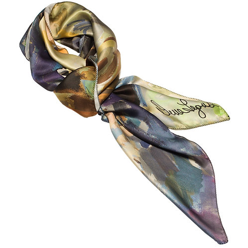 tied charmeuse silk scarf made in italy named springtime