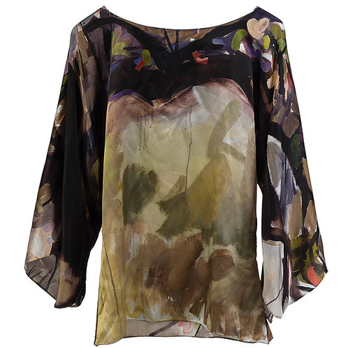 front of silk blouse made in italy with pewter and bronze hanging