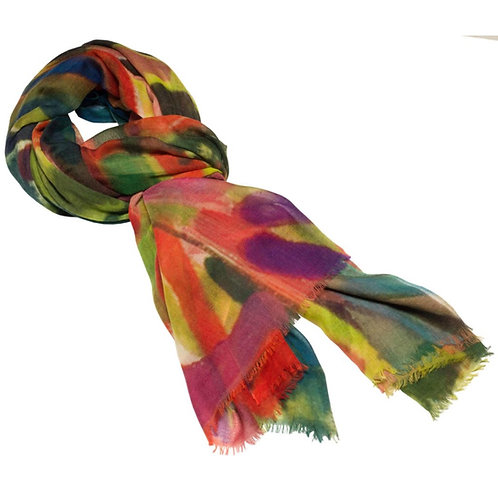 tied cashmere scarf made in italy with pinks and greens