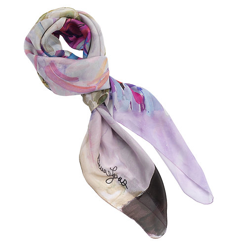 tied georgette silk scarf made in italy named blushing beauty