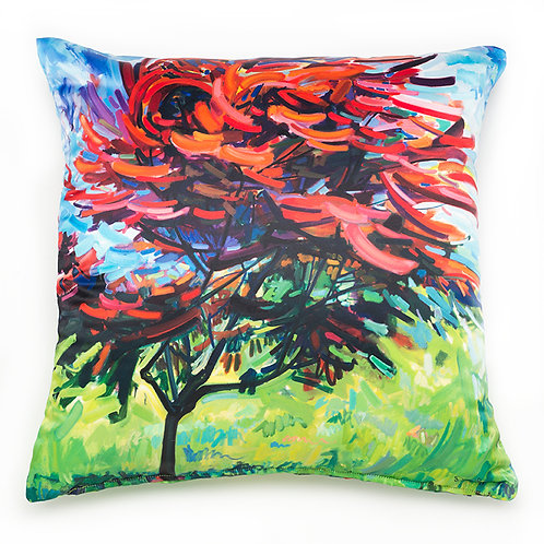 satin pillow cushion made in italy with floral imagery in red, blue, and green