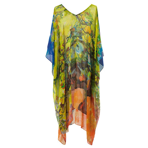 front of georgette silk caftan made in italy with painted imagery of a lemon tree
