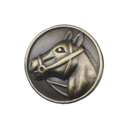 Equestrian antique golden colored magnetic scarf pins with raised unique horse deisgn
