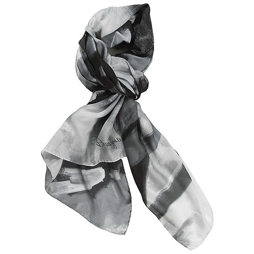 black and white painting on a tied cotton silk scarf