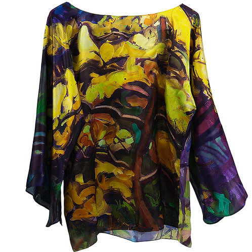 front of silk blouse made in italy with purple and yellow hanging