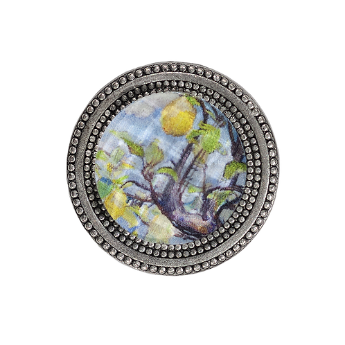 magnetic silver color scarf pin painted with a lemon tree under a faceted crystal