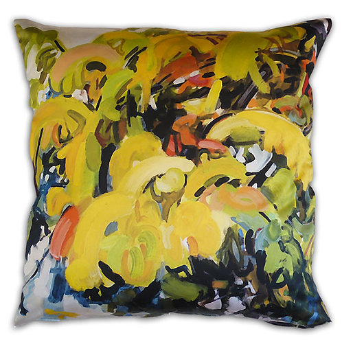 silky satin pillow cushion made in italy with japanese woodblock inspired artwork warms up a room