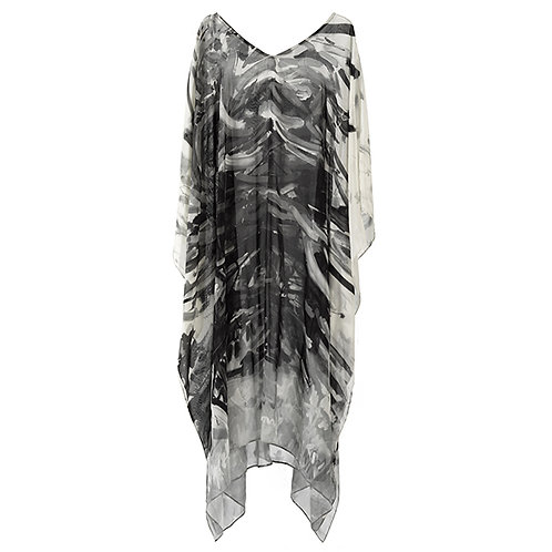 front of georgette silk caftan made in italy with black and white painted imagery of a tree,