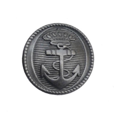 nautical theme pewter colored round magnetic scarf pin with raised anchor design