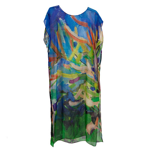 front of georgette silk caftan made in italy with blue and green hanging