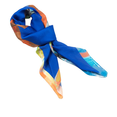 tied charmeuse silk scarf made in italy named blue bella