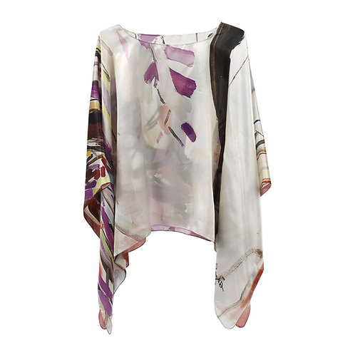 front of silk poncho made in italy named weeping cherry