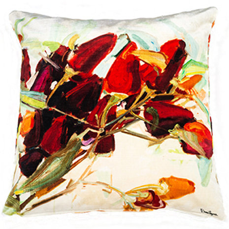 silky satin pillow cushion made in italy painted with red peppers