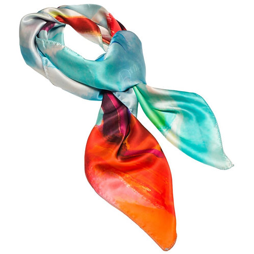 tied charmeuse silk scarf made in italy named fiery