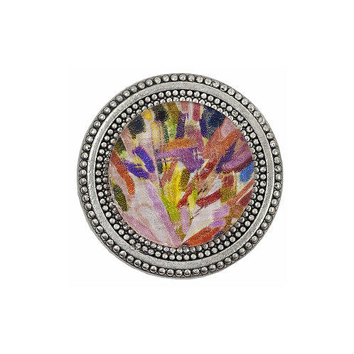 magnetic scarf pin painted with impressionistic painted imagery under a faceted crystal made in the usa