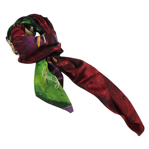 tied charmeuse silk scarf made in italy named la vie en rose
