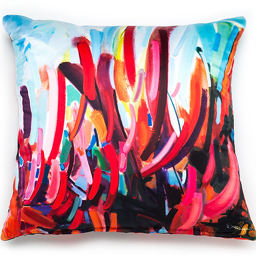 square satin pillow cushion made in italy with abstract red and blue design