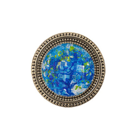 Golden magnetic scarf pin with turquoise floral imagery