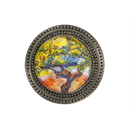 magnetic pin with orange and chartreuse floral imagery