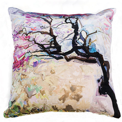 large square decorative pillow cushion made in Italy with pink cherry blossoms on velour