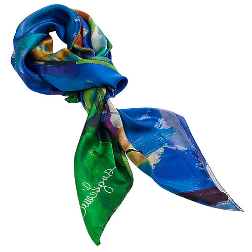 tied charmeuse silk scarf made in italy named blossoming