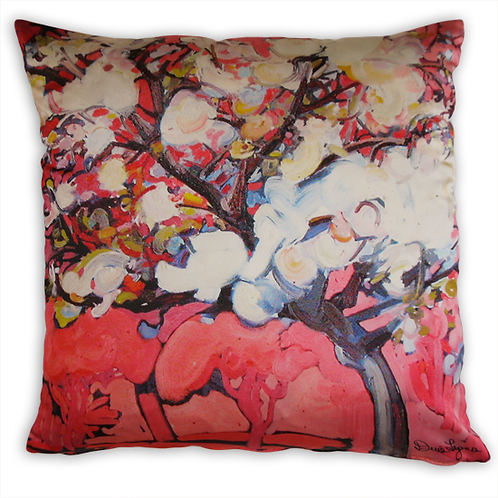 pink italian satin pillow is double sided with a zipper and shows a painting of a cherry tree