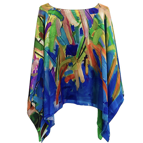 front of silk poncho made in italy named blossoming
