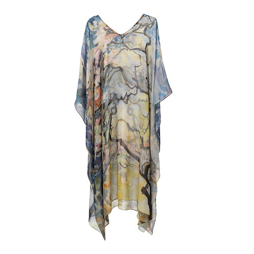 Georgette silk caftan made in italy named springtime with painted imagery of a tree
