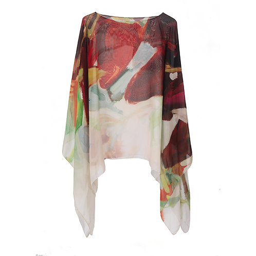 back of georgette silk poncho made in italy named freedom