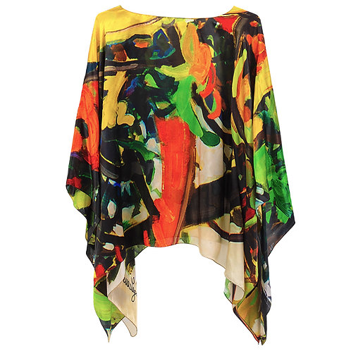 front of silk poncho made in italy named hope with red, green, yellow, black and white.