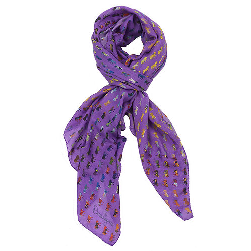 purple cotton silk scarf with rainbow colored horses tied