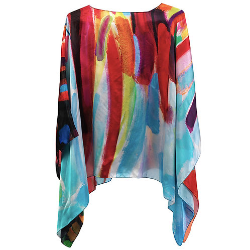 front of silk poncho made in italy named fiery