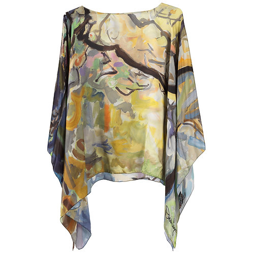 front of silk poncho made in italy named springtime