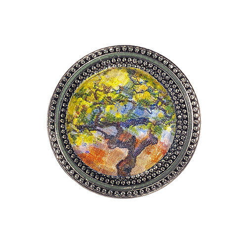 magnetic pin with lemon tree painting under a faceted crystal