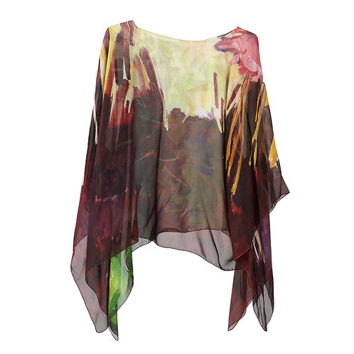 front of georgette silk poncho made in italy named la vie rose