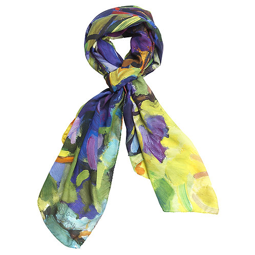 tied cotton silk scarf made in italy named sunday fun day