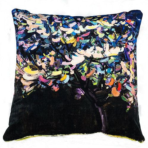plush velour pillow cushion made in italy painted with colorful cherry blossoms