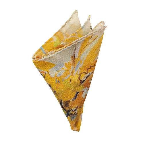 hand stitched wool pocket square with unique design in yellow and gray